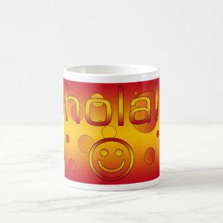 Spanish Gifts : Hello / Hola + Smiley Face Basic White Mug