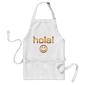 Spanish Gifts : Hello / Hola + Smiley Face Standard Apron