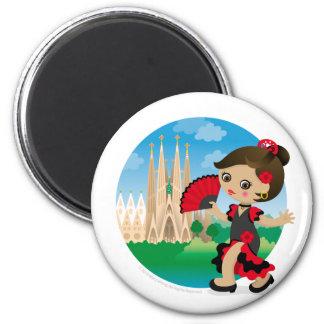 Spanish girl 6 cm round magnet