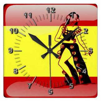 Spanish glossy flag square wall clock