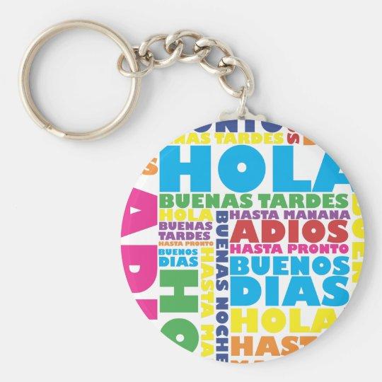 Spanish Greetings Basic Round Button Key Ring