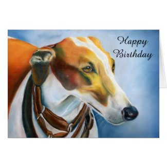 Spanish Greyhound birthday card (a500) title=