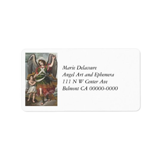 Spanish Guardian Angel and Child Label