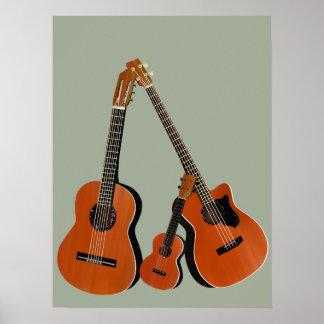 Spanish Guitar Acoustic Bass and Ukulele Poster