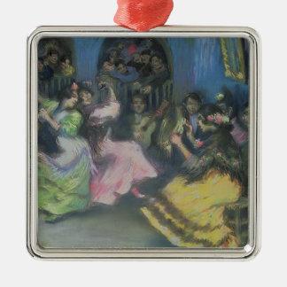 Spanish Gypsy Dancers, 1898 Silver-Colored Square Decoration