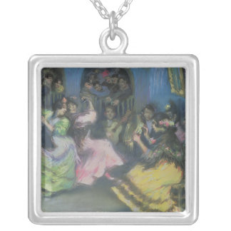Spanish Gypsy Dancers, 1898 Silver Plated Necklace