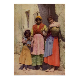 Spanish Gypsy Girls, Vintage 1917 Poster