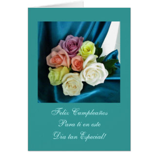 Spanish Happy Birthday Feliz Cumpleanos teal Cards