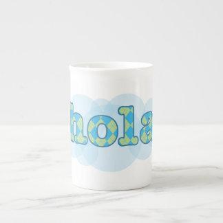 Spanish - Hola with argyle pattern Bone China Mug