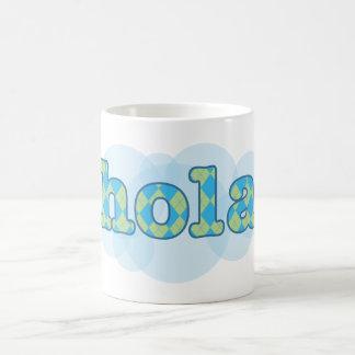Spanish - Hola with argyle pattern Basic White Mug