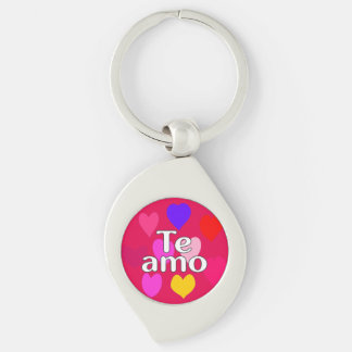 Spanish - I love you Silver-Colored Swirl Key Ring