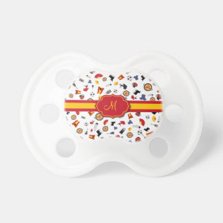 Spanish items with flag to add babies monogram pacifiers