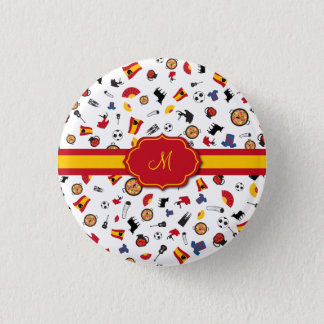 Spanish items with flag to add your monogram 3 cm round badge