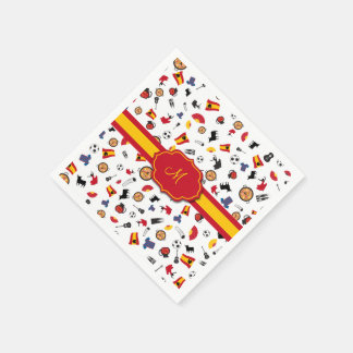 Spanish items with flag to add your monogram paper napkins