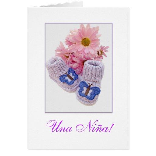 Spanish: It's a girl! Una Niña! Greeting Card