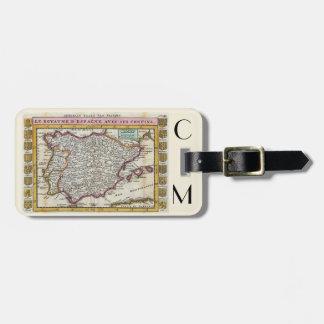 Spanish Kingdom Vintage Old World Map Monogram Luggage Tag