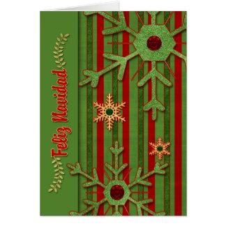 Spanish Language Christmas Feliz Navidad Red Green Card