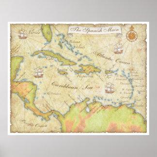Spanish Main Map Poster