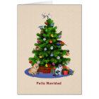 Spanish, Merry Christmas Tree, Birds, Cat, Dog Card