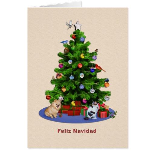 Spanish, Merry Christmas Tree, Birds, Cat, Dog Greeting Card
