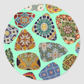 Spanish & Mexican Tile Mosaic Round Sticker
