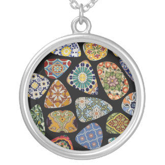 Spanish & Mexican Tile Mosaic Silver Plated Necklace
