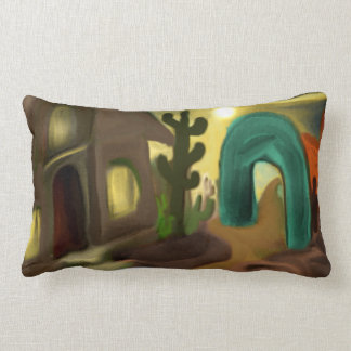 Spanish Mission Southwestern Abstract Art Lumbar Cushion