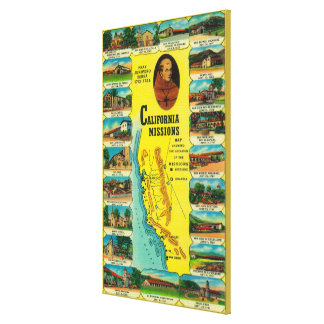 Spanish Missions of California showing Stretched Canvas Prints