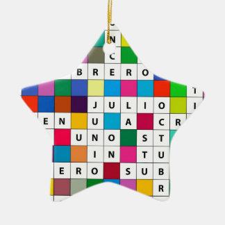 Spanish Months Crossword Design Ornament