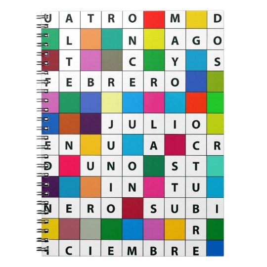 Spanish Months Design Spiral Notebook