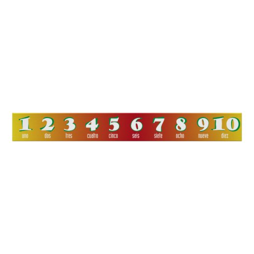 Spanish Numbers 1-10 Banner Print