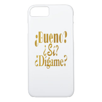 Spanish Phone Greetings in Gold iPhone 7 Case