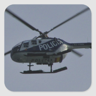 Spanish Police Helicopter Square Sticker