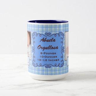 SPANISH Proud Grandmother | Baby Blue Plaid Two-Tone Coffee Mug
