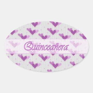 Spanish Quinceanera Pink Purple Hearts Sticker