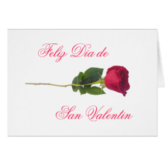 Spanish: red rose-Valentine's day Card