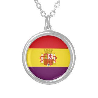 Spanish Republican Flag - Bandera República España Silver Plated Necklace