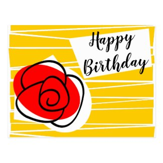 Spanish Rose Birthday postcard landscape