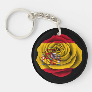 Spanish Rose Flag on Black Double-Sided Round Acrylic Key Ring