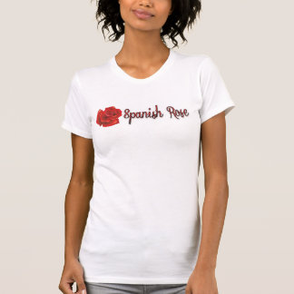 Spanish Rose Red and Black Text Tee Shirt