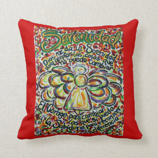 Spanish Serenity Prayer Angel Decorative Pillow