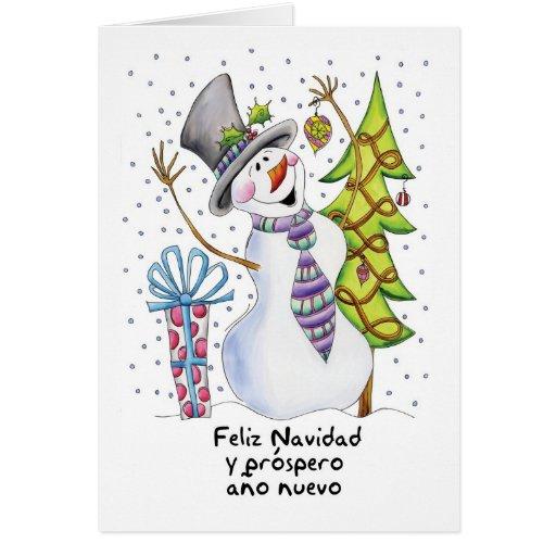 Spanish - Snowman - Happy Snowman - Feliz Navidad Cards