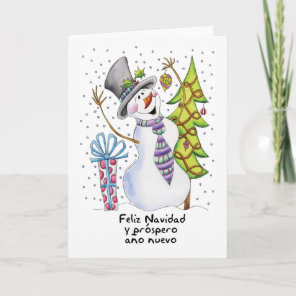 Spanish - Snowman - Happy Snowman - Feliz Navidad Holiday Card