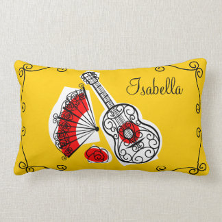 "Spanish Souvenirs ""name"" corners red back lumbar Lumbar Cushion"