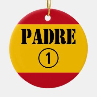 Spanish Speaking Fathers & Dads : Padre Numero Uno Round Ceramic Decoration