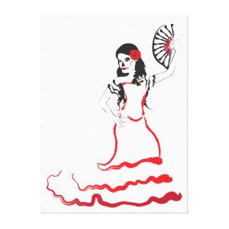 spanish sugar skull dancer red black and white canvas print