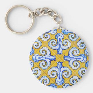 Spanish Tiles Basic Round Button Key Ring