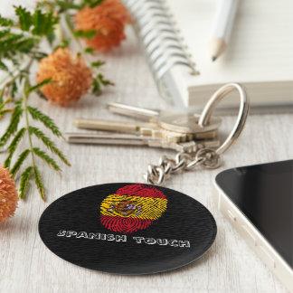 Spanish touch fingerprint flag key ring