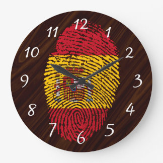 Spanish touch fingerprint flag large clock