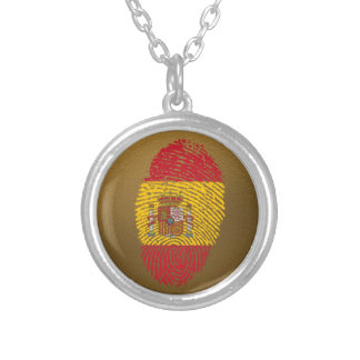 Spanish touch fingerprint flag silver plated necklace